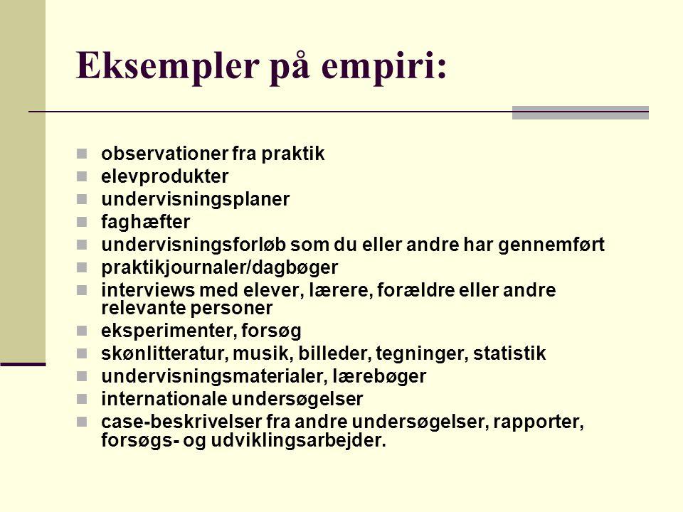 Eksempler på empiri: observationer fra praktik elevprodukter