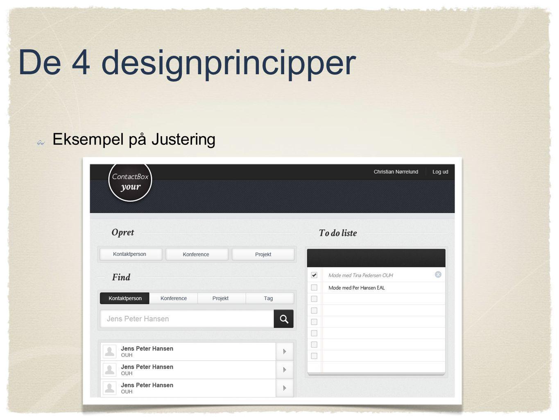 De 4 designprincipper Eksempel på Justering