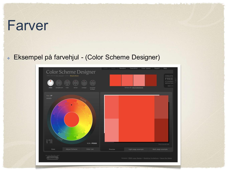 Farver Eksempel på farvehjul - (Color Scheme Designer)