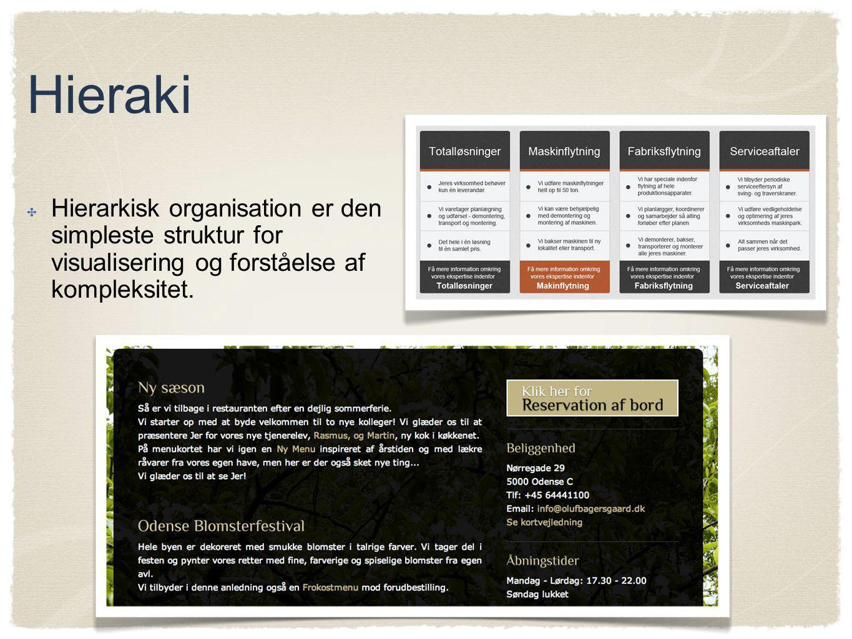 Hieraki Hierarkisk organisation er den simpleste struktur for visualisering og forståelse af kompleksitet.