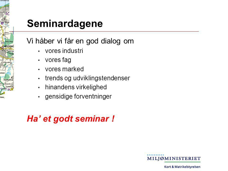 Seminardagene Ha' et godt seminar ! Vi håber vi får en god dialog om