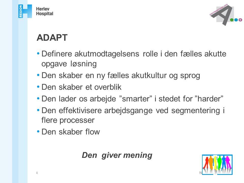 ADAPT Definere akutmodtagelsens rolle i den fælles akutte opgave løsning. Den skaber en ny fælles akutkultur og sprog.