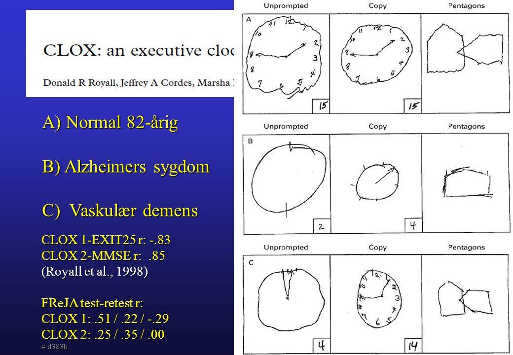 Normal 82-årig B) Alzheimers sygdom C) Vaskulær demens
