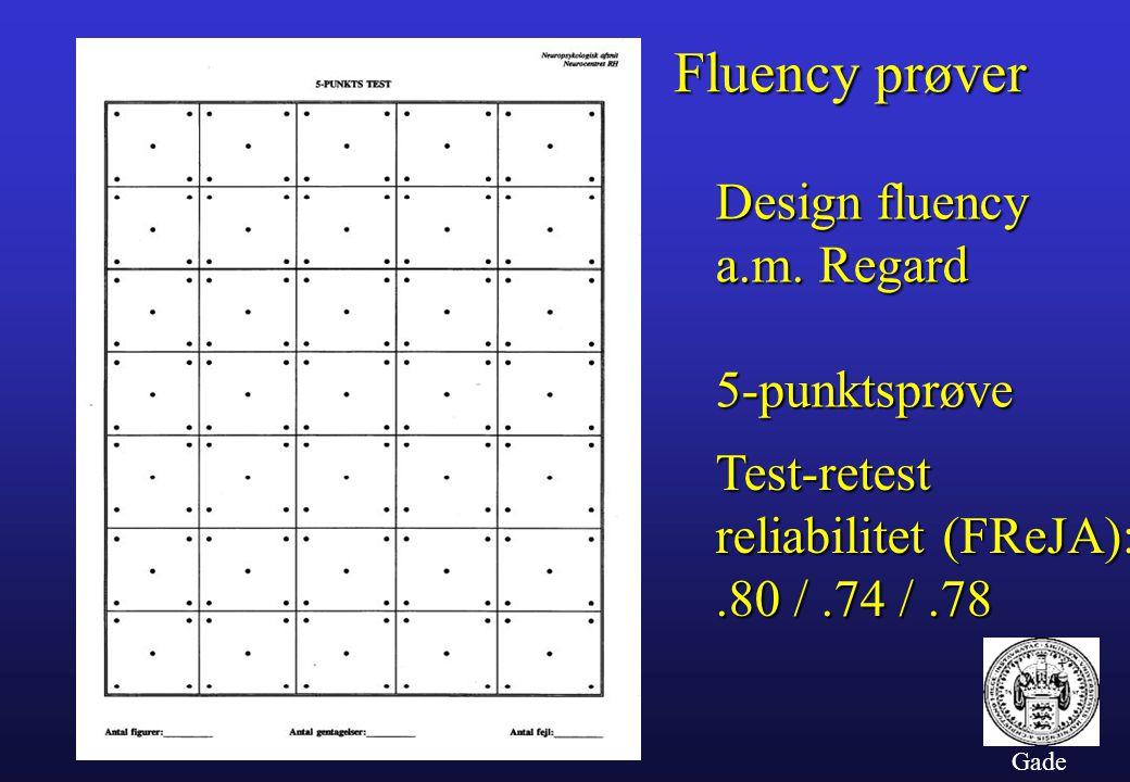 Fluency prøver Design fluency a.m. Regard 5-punktsprøve