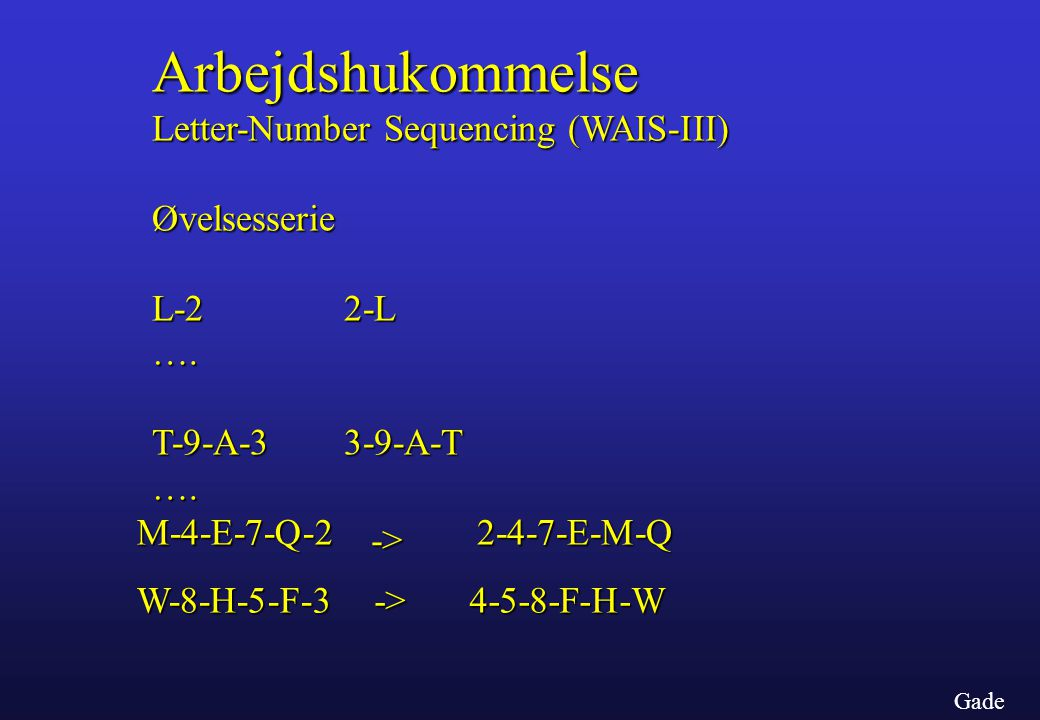 Arbejdshukommelse Letter-Number Sequencing (WAIS-III)