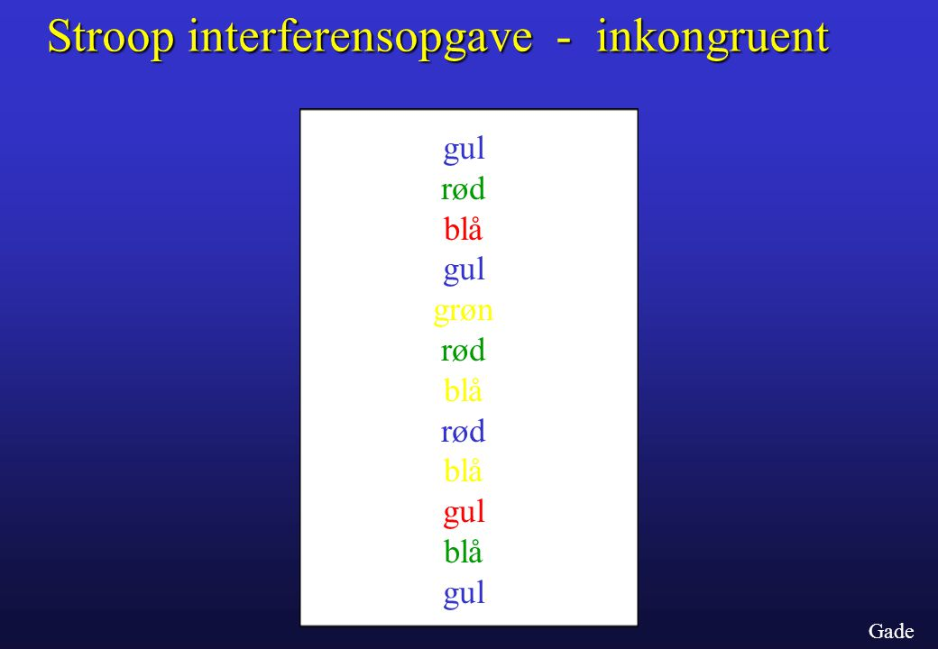 Stroop interferensopgave - inkongruent