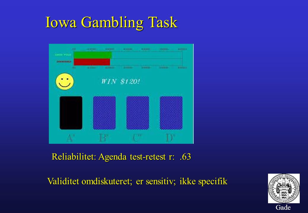 Iowa Gambling Task Reliabilitet: Agenda test-retest r: .63