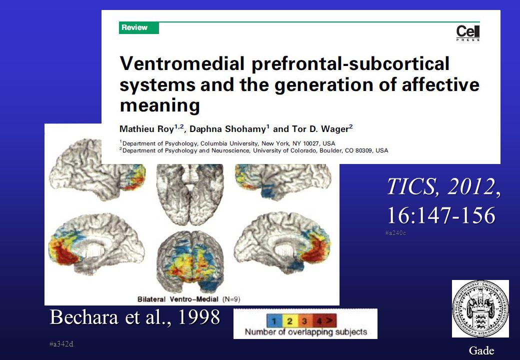 TICS, 2012, 16:147-156 #a240c Bechara et al., 1998 #a342d Gade
