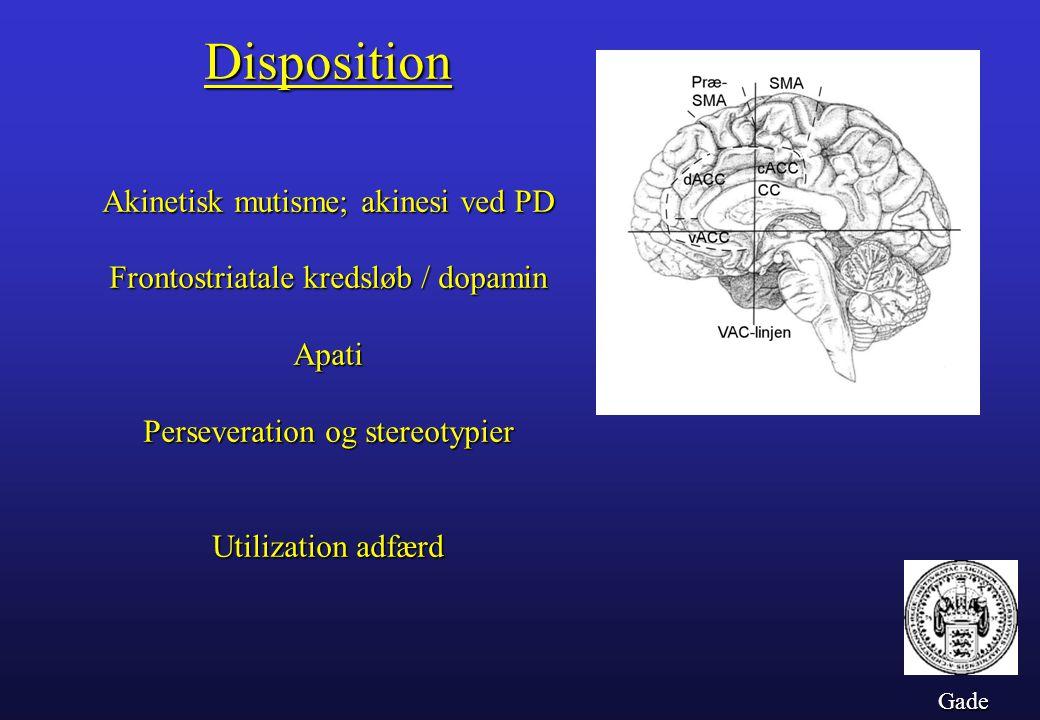 Disposition Frontostriatale kredsløb / dopamin Apati