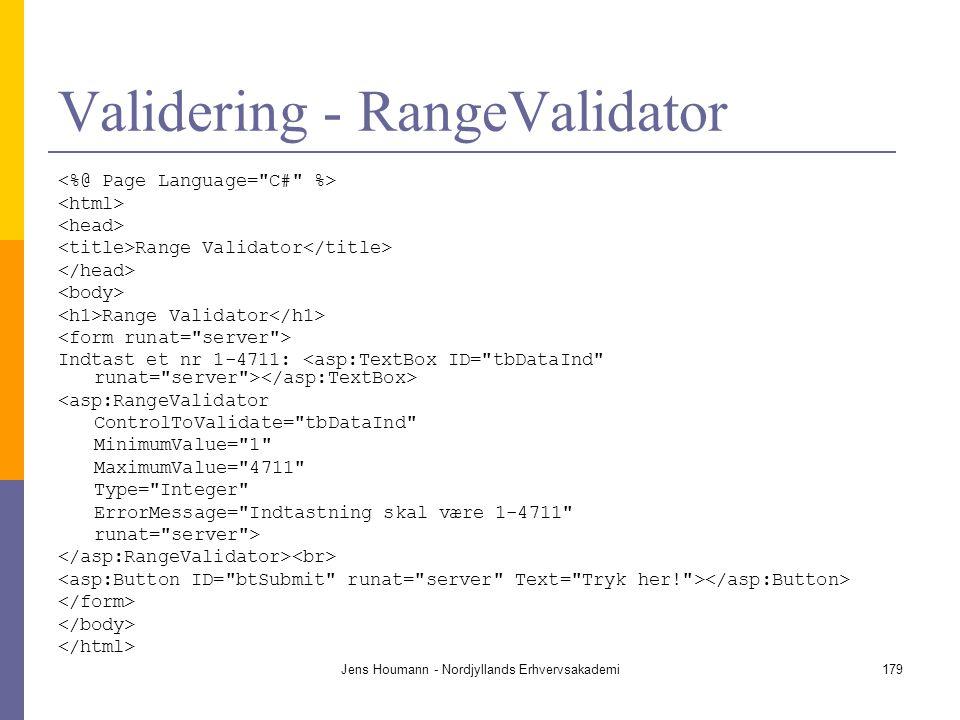 Validering - RangeValidator
