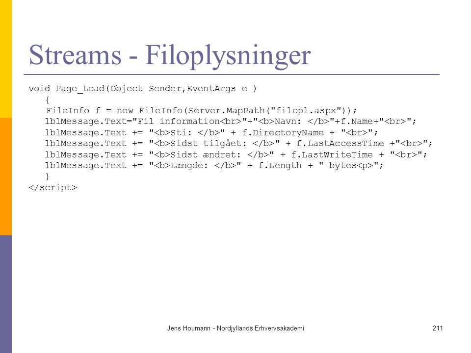 Streams - Filoplysninger