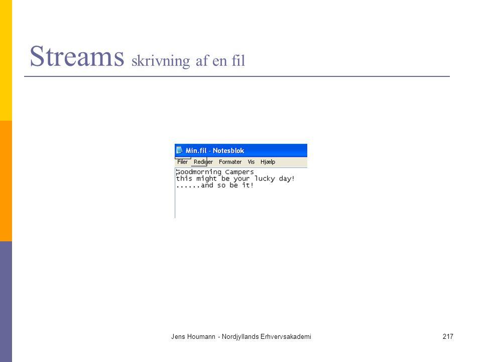 Streams skrivning af en fil