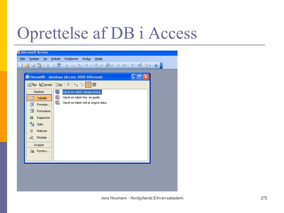 Oprettelse af DB i Access