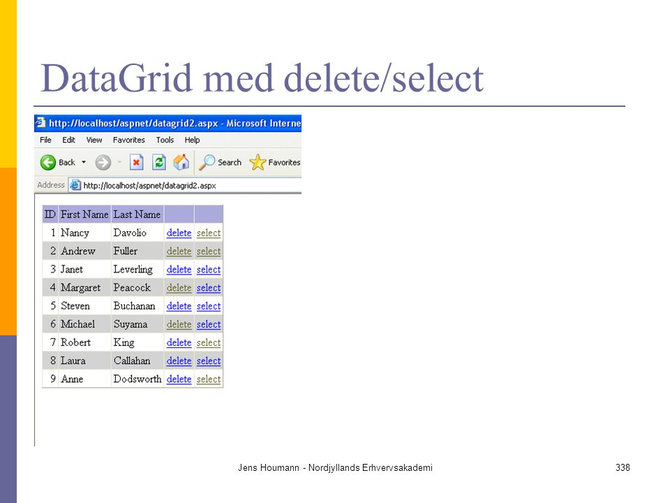 DataGrid med delete/select