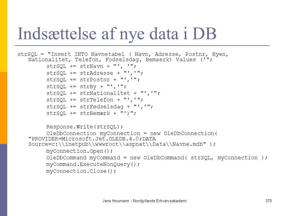 Indsættelse af nye data i DB