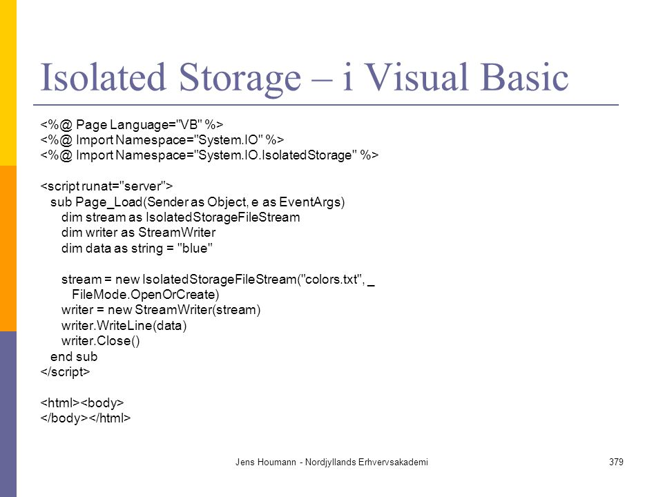 Isolated Storage – i Visual Basic
