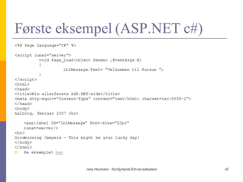 Første eksempel (ASP.NET c#)