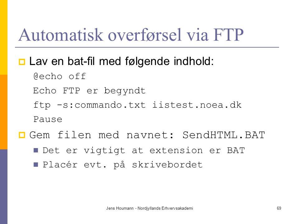 Automatisk overførsel via FTP