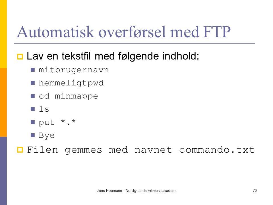 Automatisk overførsel med FTP