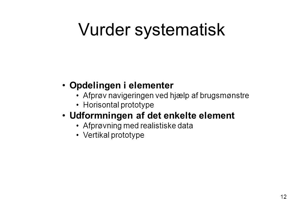 Vurder systematisk Opdelingen i elementer
