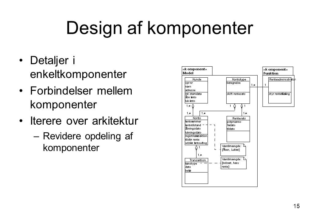 Design af komponenter Detaljer i enkeltkomponenter