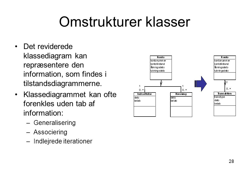 Omstrukturer klasser Det reviderede klassediagram kan repræsentere den information, som findes i tilstandsdiagrammerne.