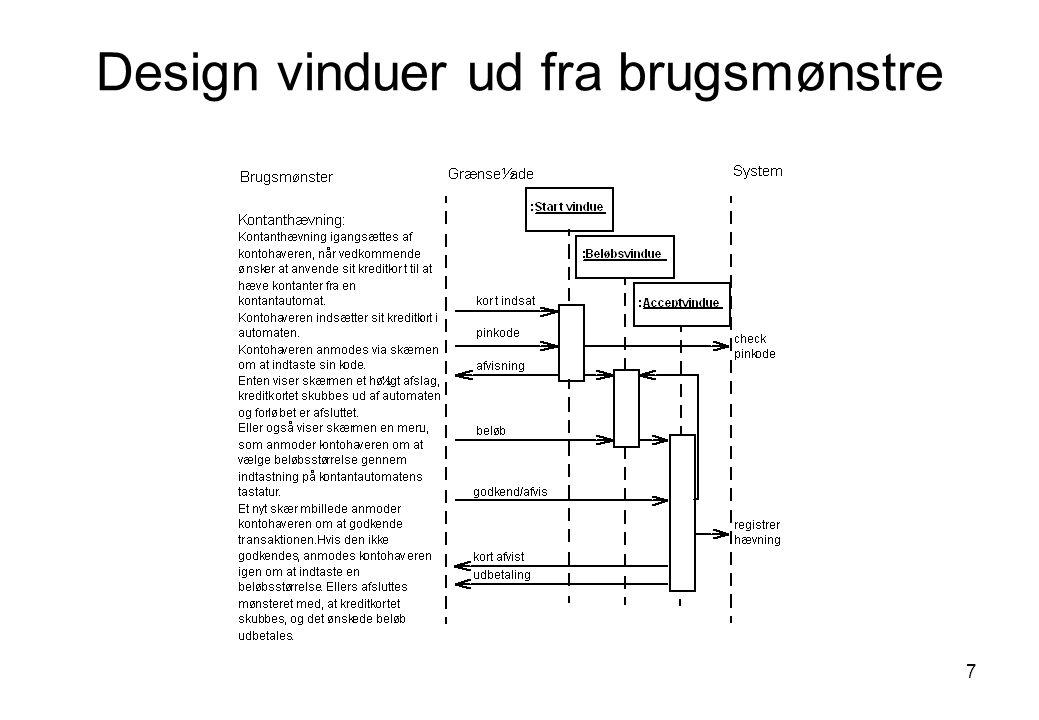 Design vinduer ud fra brugsmønstre