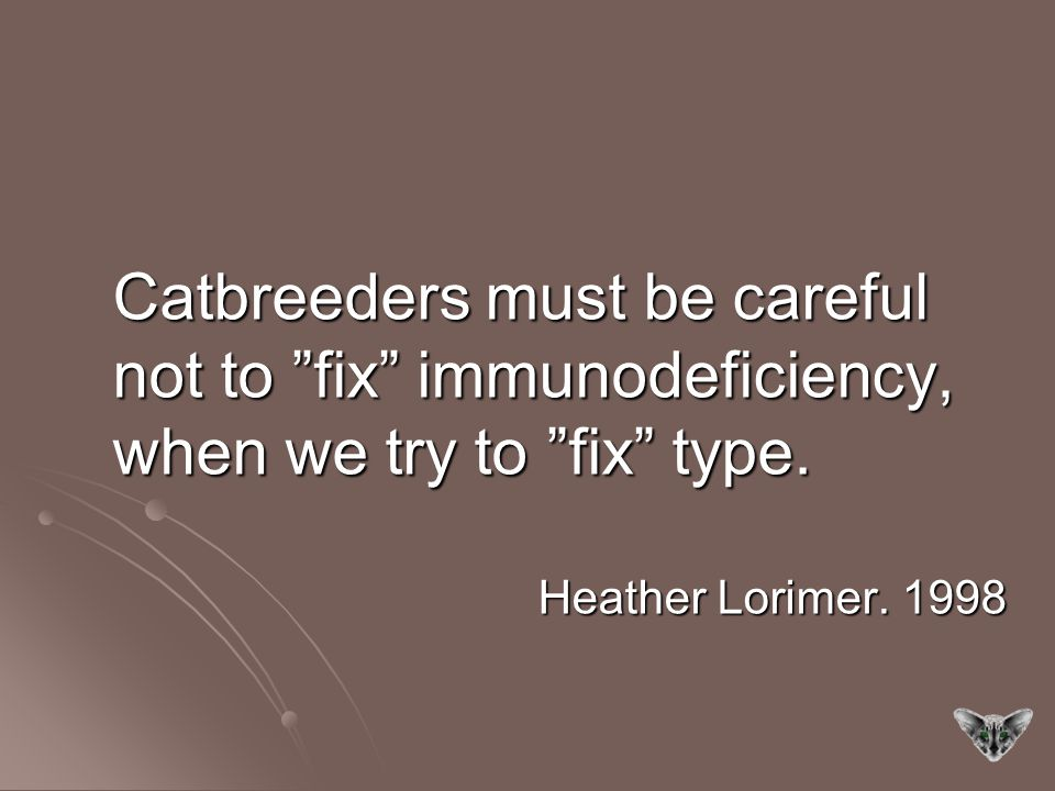 Catbreeders must be careful not to fix immunodeficiency, when we try to fix type.