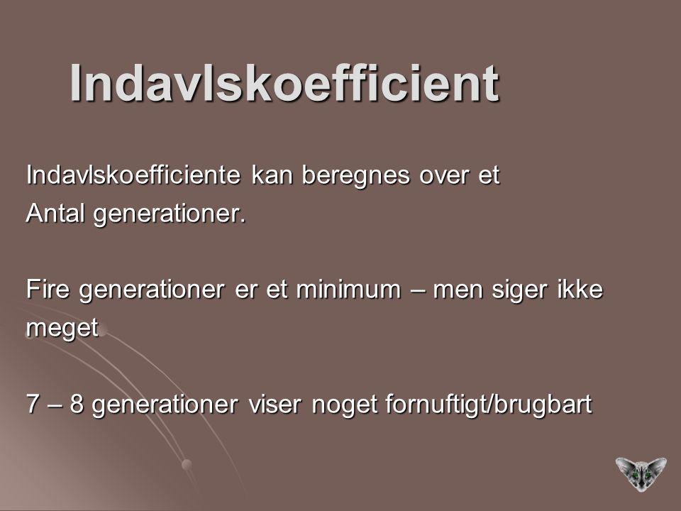 Indavlskoefficient Indavlskoefficiente kan beregnes over et
