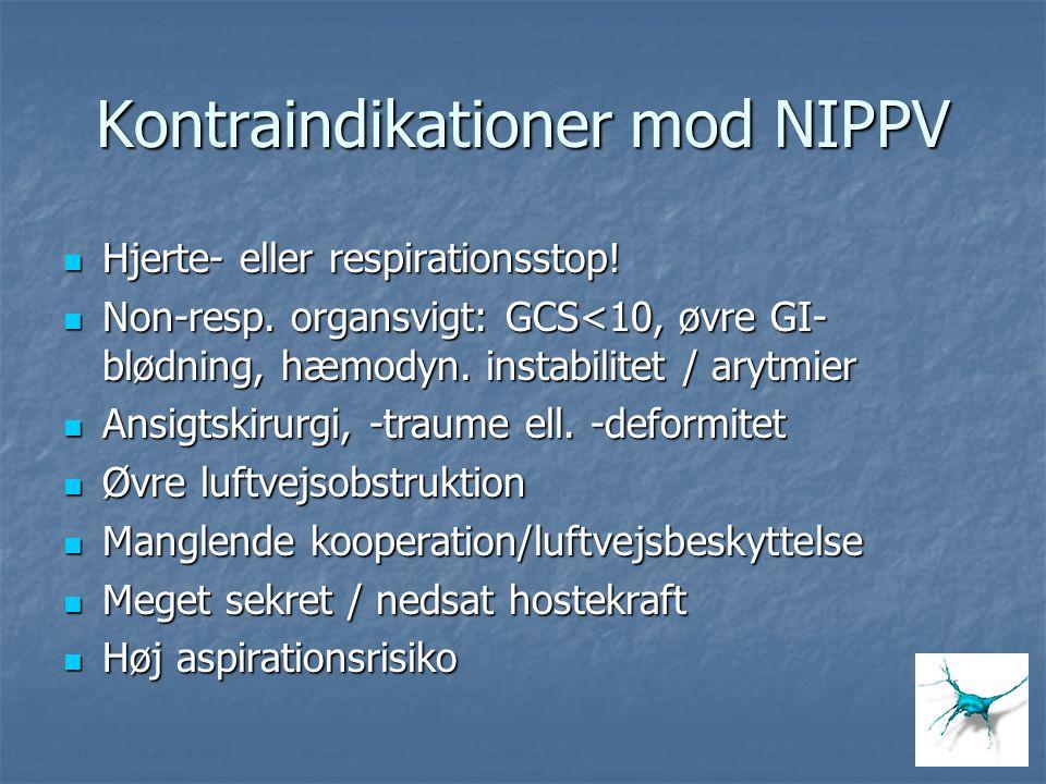 Kontraindikationer mod NIPPV