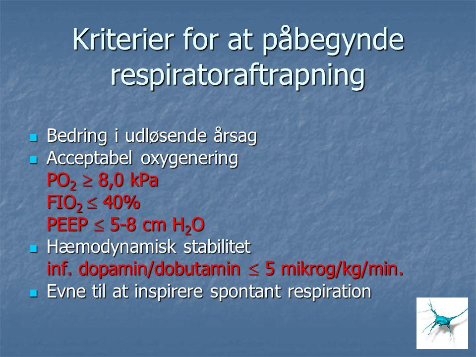 Kriterier for at påbegynde respiratoraftrapning