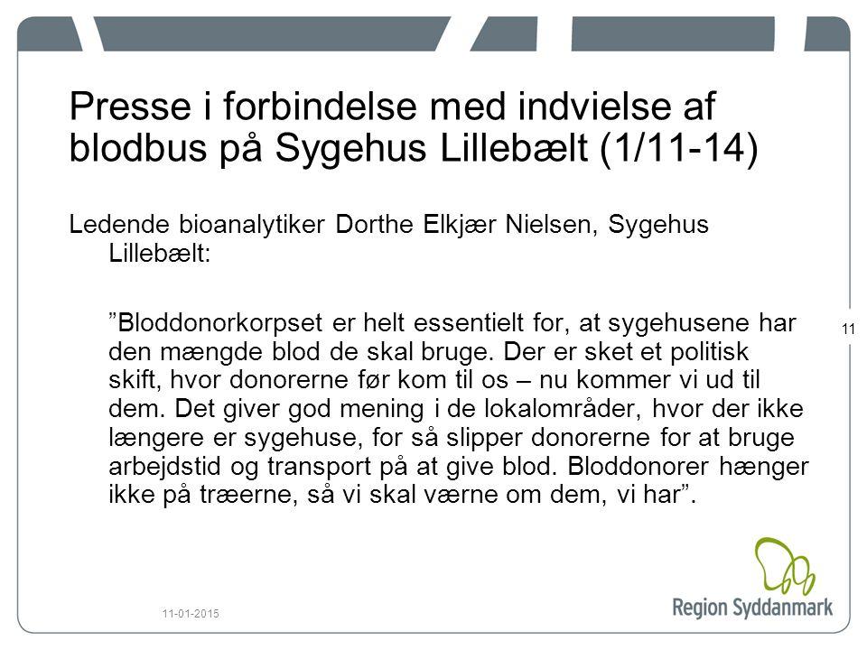 Presse i forbindelse med indvielse af blodbus på Sygehus Lillebælt (1/11-14)