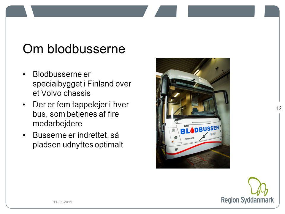 Om blodbusserne Blodbusserne er specialbygget i Finland over et Volvo chassis. Der er fem tappelejer i hver bus, som betjenes af fire medarbejdere.