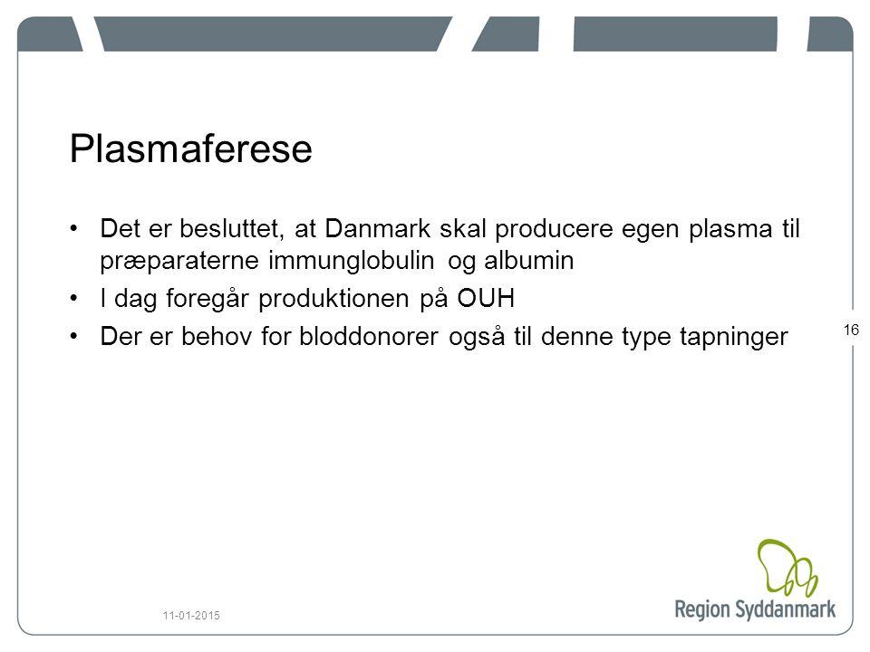 Plasmaferese Det er besluttet, at Danmark skal producere egen plasma til præparaterne immunglobulin og albumin.