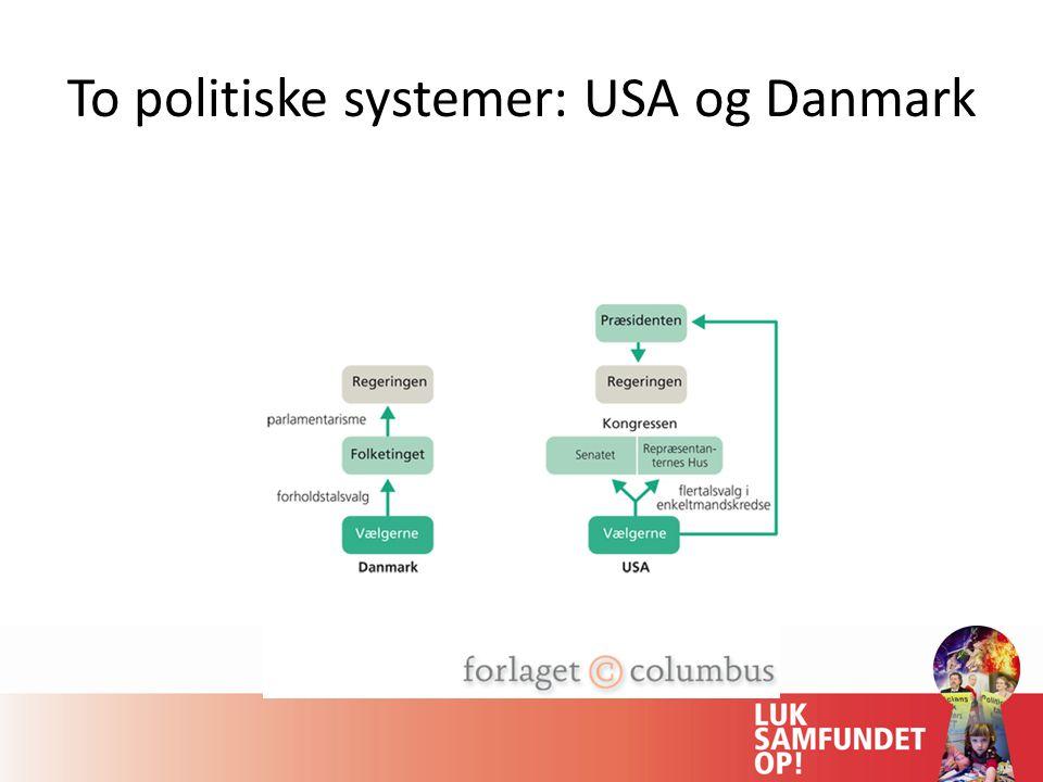 To politiske systemer: USA og Danmark