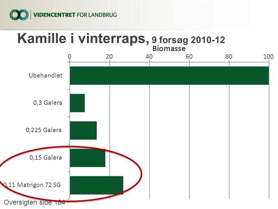 Kamille i vinterraps, 9 forsøg 2010-12