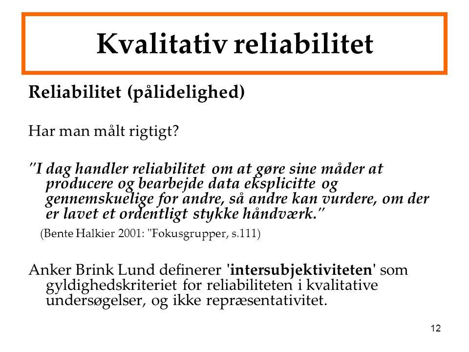 Kvalitativ reliabilitet
