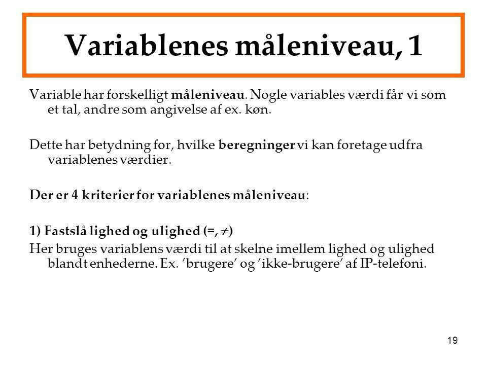 Variablenes måleniveau, 1