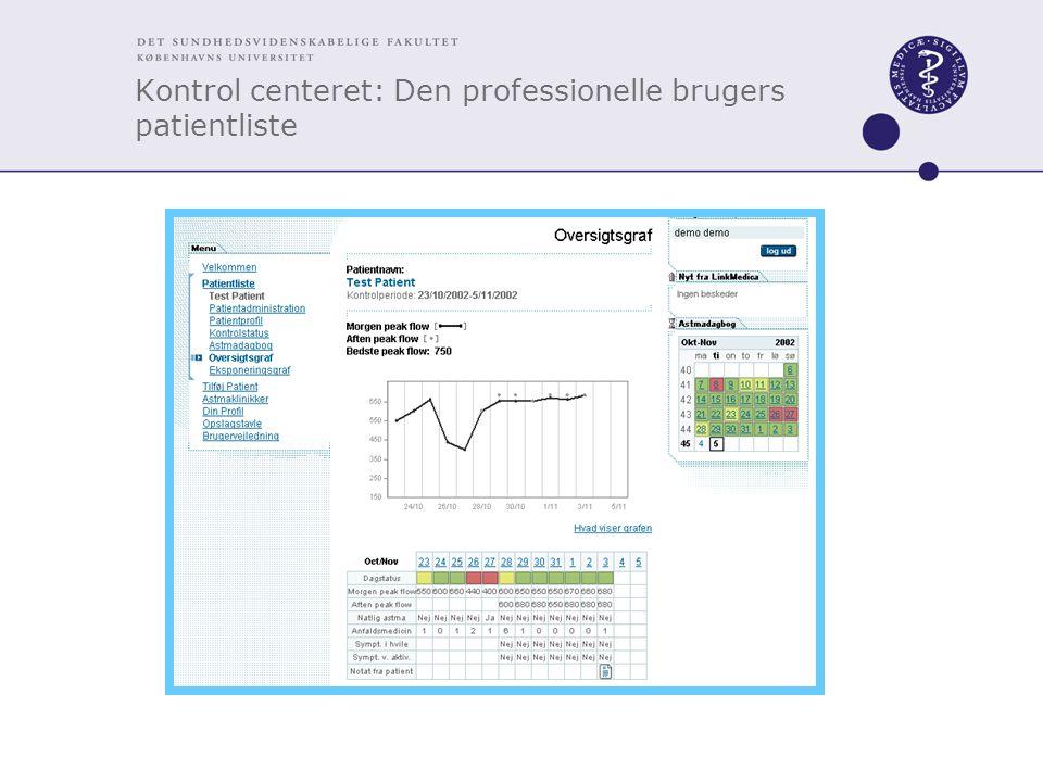 Kontrol centeret: Den professionelle brugers patientliste