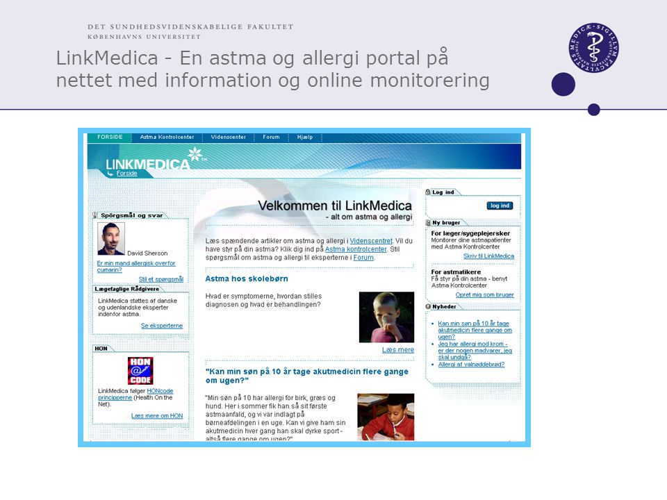 LinkMedica - En astma og allergi portal på nettet med information og online monitorering
