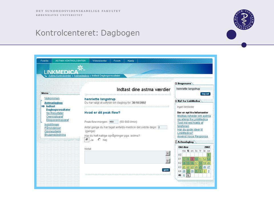 Kontrolcenteret: Dagbogen