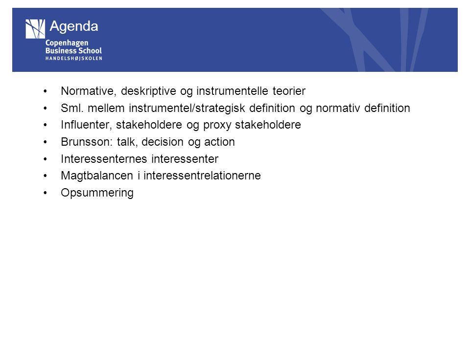 Agenda Normative, deskriptive og instrumentelle teorier