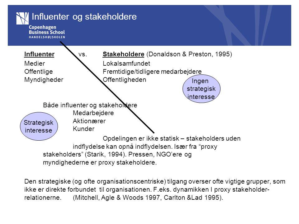 Influenter og stakeholdere