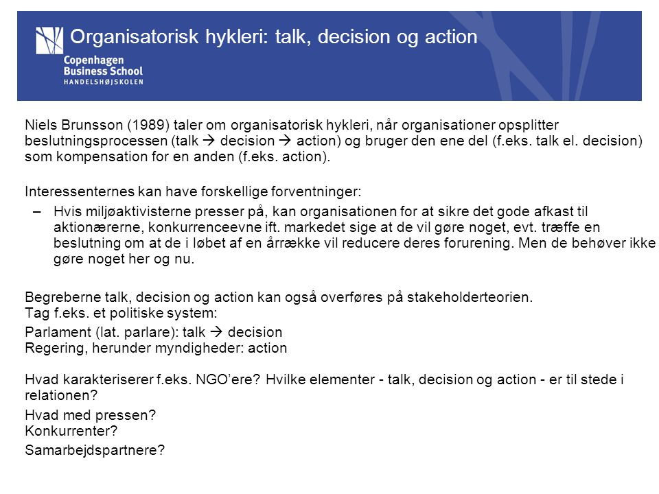 Organisatorisk hykleri: talk, decision og action