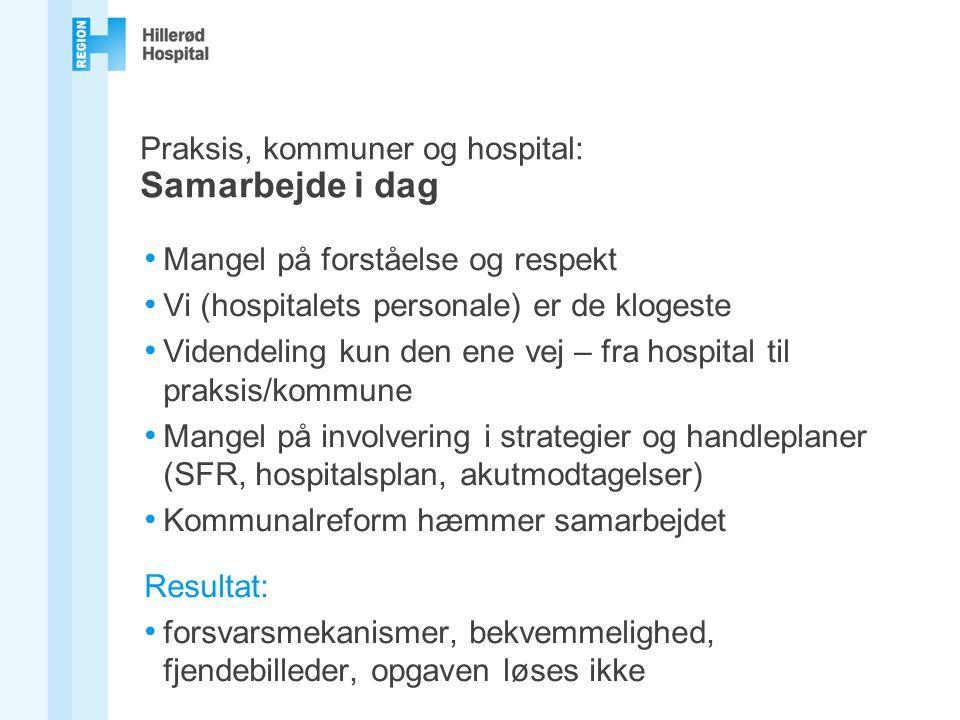 Praksis, kommuner og hospital: Samarbejde i dag