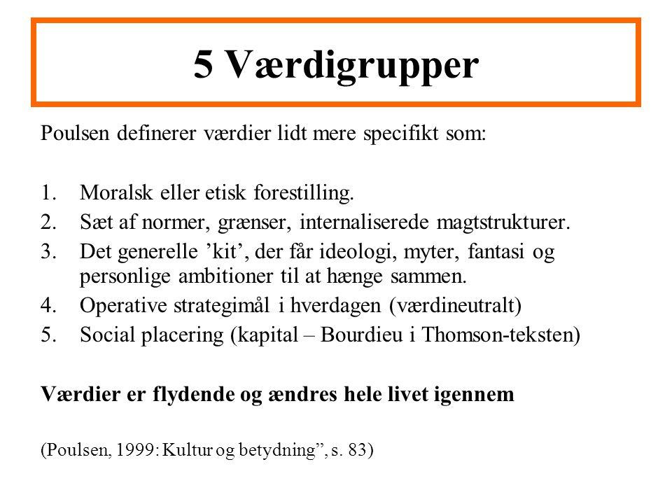 5 Værdigrupper Poulsen definerer værdier lidt mere specifikt som: