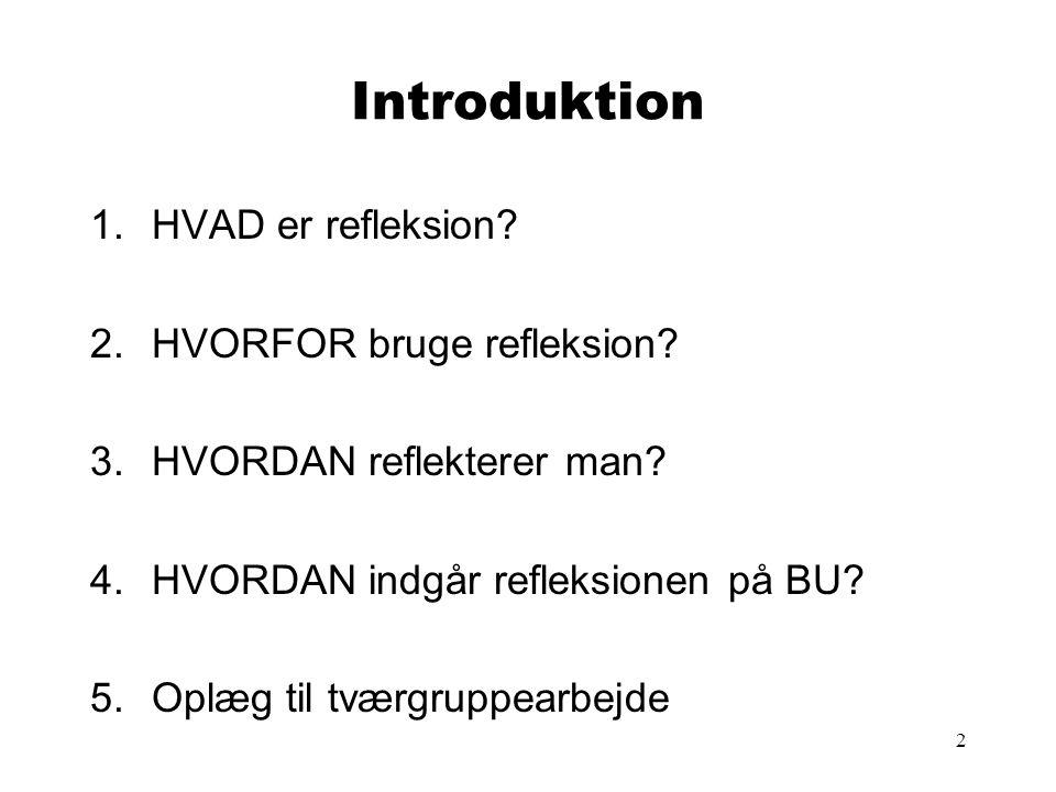 Introduktion HVAD er refleksion HVORFOR bruge refleksion