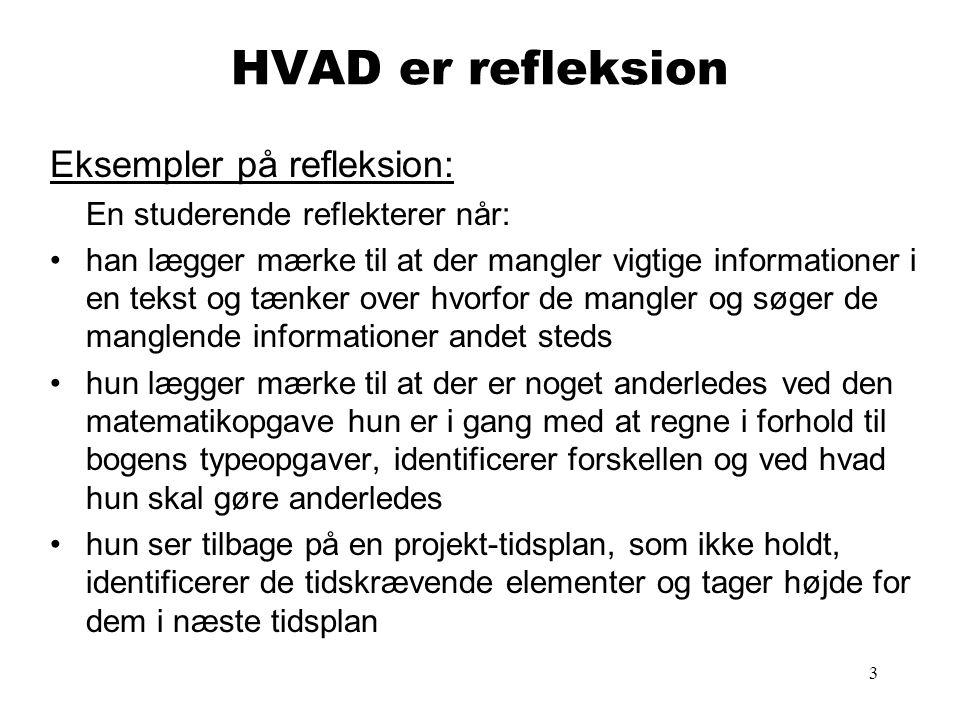 HVAD er refleksion Eksempler på refleksion: