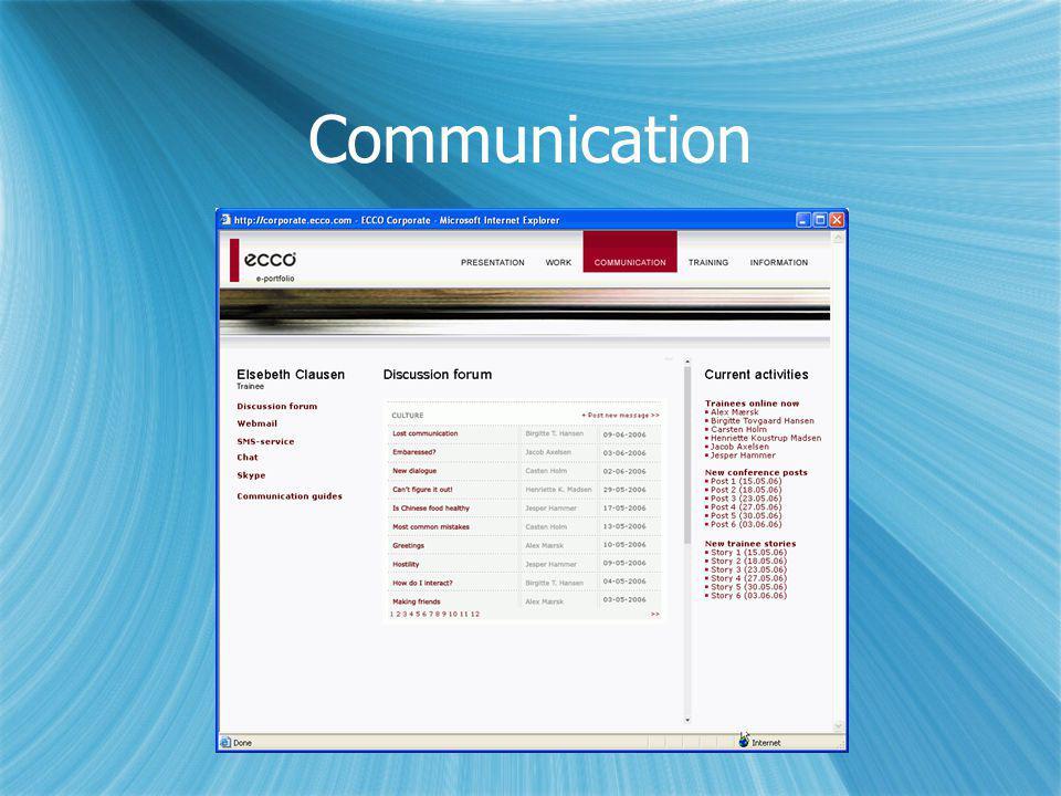 Communication Holde kontakten til det hjemlige netværk – professioenlt og privat + kommunikation med andre trainees.