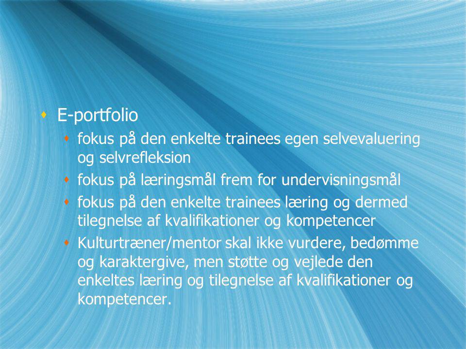E-portfolio fokus på den enkelte trainees egen selvevaluering og selvrefleksion. fokus på læringsmål frem for undervisningsmål.
